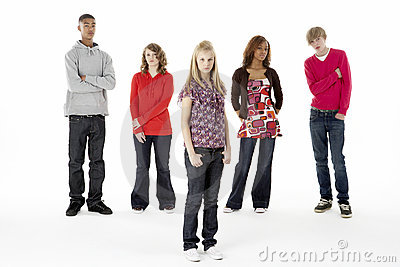 Full Length Studio Portrait Of Five Teenage Friend