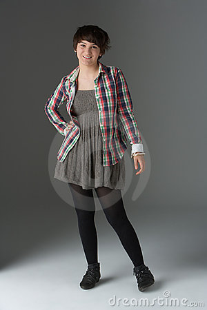 Full Length Studio Portrait Of Teenage Girl
