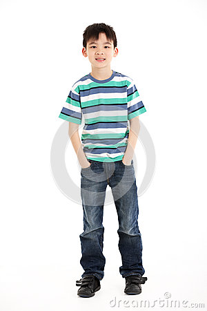 Full Length Studio Shot Of Chinese Boy