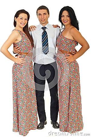 Full length of three fashion models