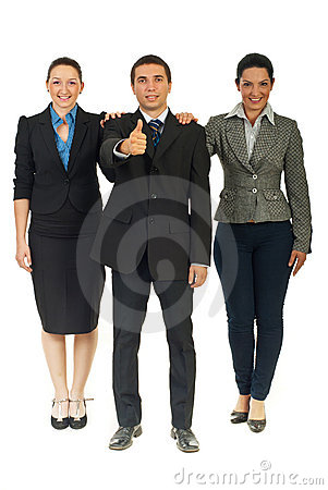 Full length of united business people