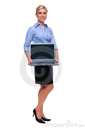 Full length woman holding laptop computer with bla