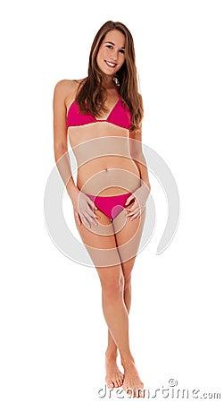 Full length woman wearing pink bikini