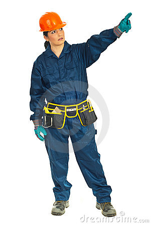 Full length of worker woman pointing