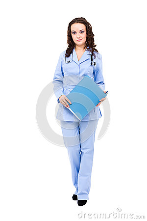 Full length of young doctor with stethoscope