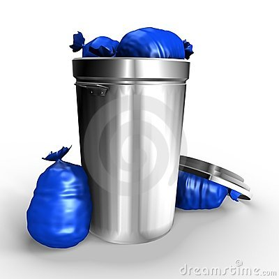 A Full Metallic Trash Can - A 3d Image Stock Photography - Image: 13922362
