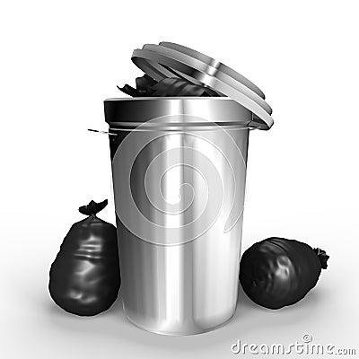 A full metallic trash can - a 3d image