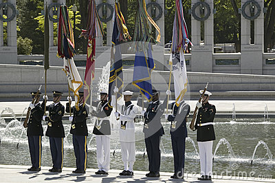 Full military ceremonial flags Editorial Image