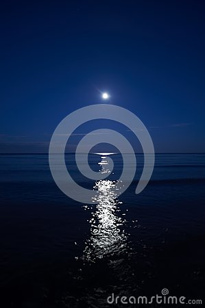 Full moon above the sea at night