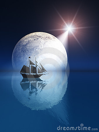 Free Full Moon And Star Over Ship Stock Image - 10408371