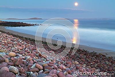 Full moon at the atlantic ocean