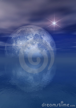 Free Full Moon Bright Star Over Sea Stock Photo - 2810200