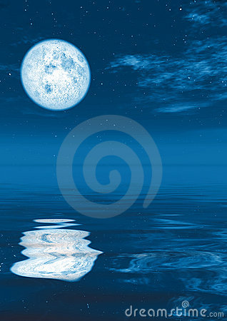 Full moon in calm water