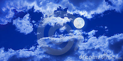 Full Moon Clouds Sky