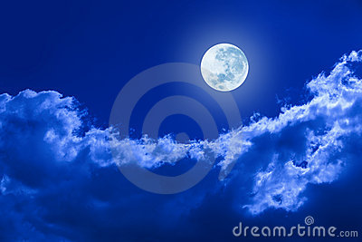 Full Moon Clouds Night Sky