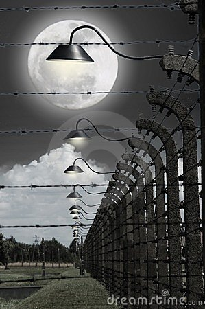 Full moon in the concentration camp of Auschwitz Editorial Stock Photo