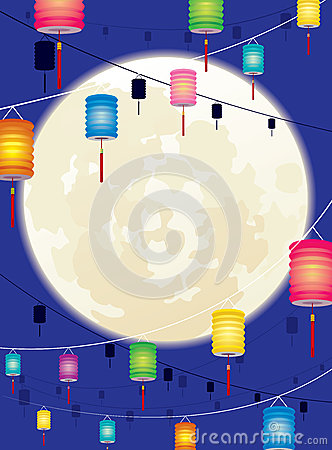 Full moon and hanging Chinese lantern background d