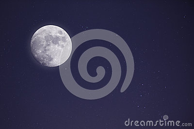Full moon and nightsky with stars