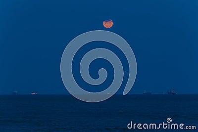 Full Moon Ocean Ships