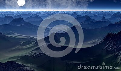 Full Moon Over Hilly Landscape Free Public Domain Cc0 Image