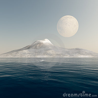 Free Full Moon Over Mountain Sea Royalty Free Stock Image - 15452036