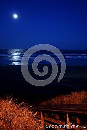 Full moon over Newport beach
