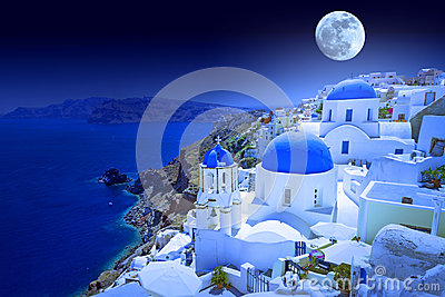 Full moon over Santorini island