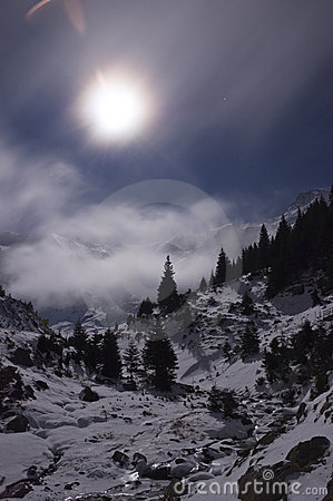 Free Full Moon Over The Mountains Stock Photography - 7477622