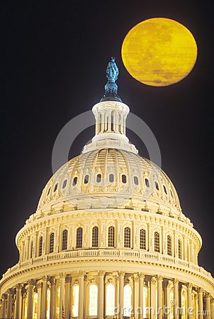 Full Moon Over US Capitol