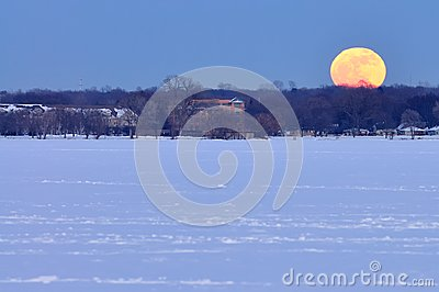 Full moon rise over Lake Monona