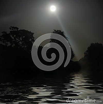 Full Moon Shining Above Water