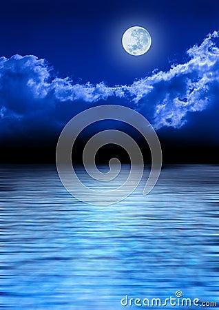 Full Moon Sky And Ocean