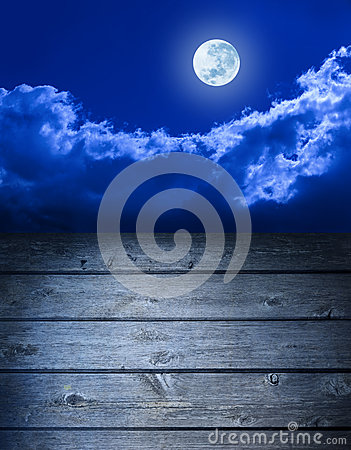 Full Moon Sky Wood Background