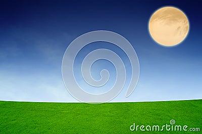 Full moon under the spring fields