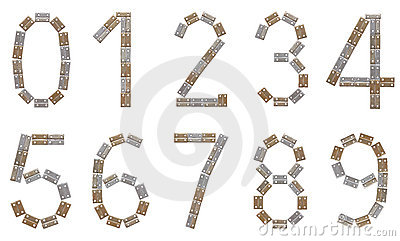 Full numeral set made of metallic brackets