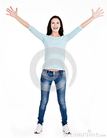 Full portrait of a beautiful young happy woman with raised hands