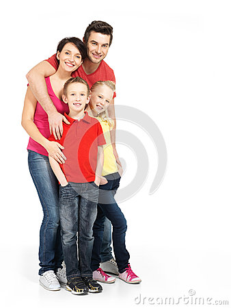 Free Full Portrait Of The Happy Young Family With Two Children Royalty Free Stock Image - 29258436