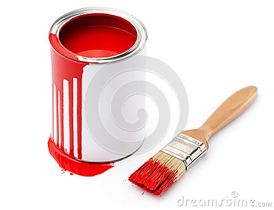 Full of red paint tin near the paintbrush
