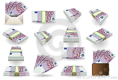 Full set of five hundred euros banknotes