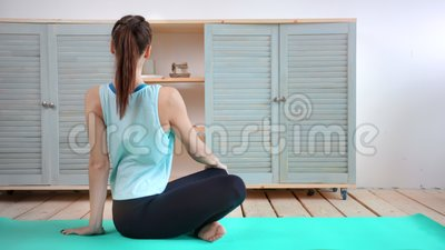 full shot flexibility young woman practicing yoga exercise