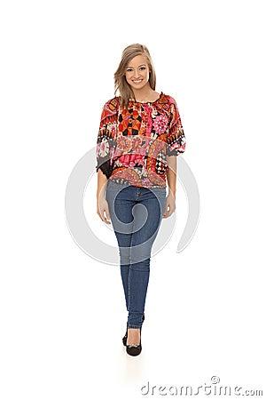 Full size photo of happy trendy girl