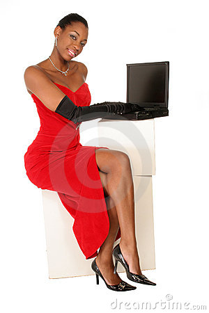 Full view of lady on laptop