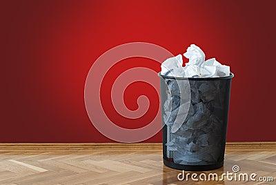 Full wastepaper basket