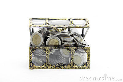 Full Wealth Coins Chest Royalty Free Stock Image - Image: 21799526