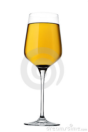 Full white wine glass isolated on white background