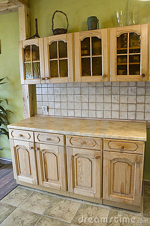 Full wooden kitchen,