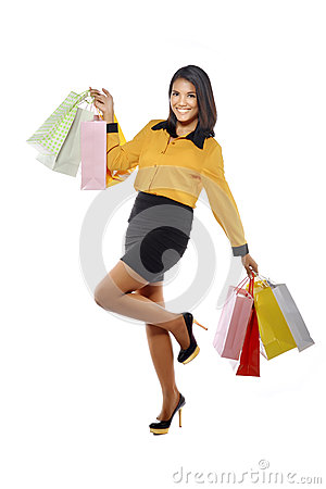 Fullbody Portrait Woman With Shopping Bags