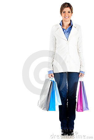 Fullbody shopping woman
