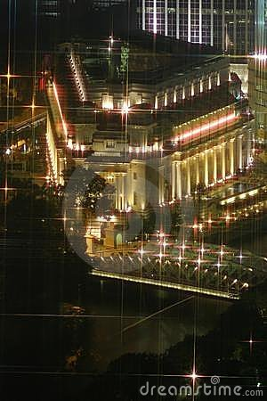 Free Fullerton Hotel After Dusk Royalty Free Stock Photo - 1082375
