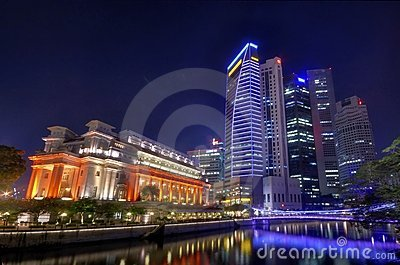 Fullerton Hotel and the Singapore CBD Skyline Editorial Stock Photo